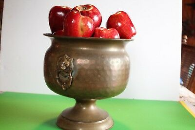 Vintage Hand Hammered Solid Copper W/brass Lions Kettle, Couldron, Flower Pot