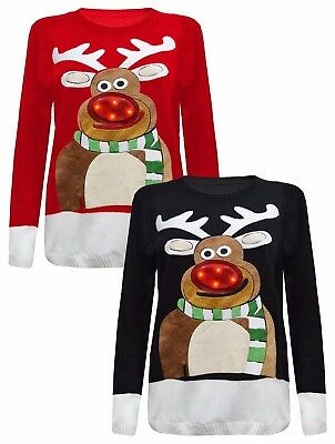 Women Ladies XMAS Special 3D Rudolph -Nose Jumper With LED Flashing Lights