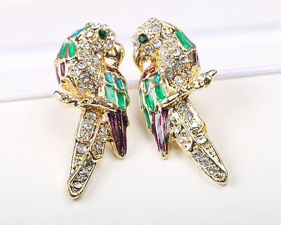 Vintage 1970s Coloured Enamel and Clear Rhinestone Parrot Earrings