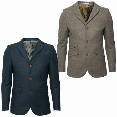 Gabicci Vintage Mens Tailored Blazer Button Up Dogs Tooth Smart Jacket Coat