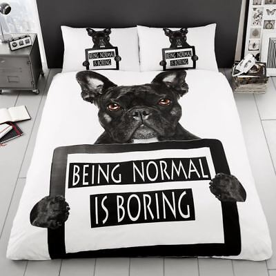 French Bulldog Duvet Cover Set Black White Print Reversible - Single & Double