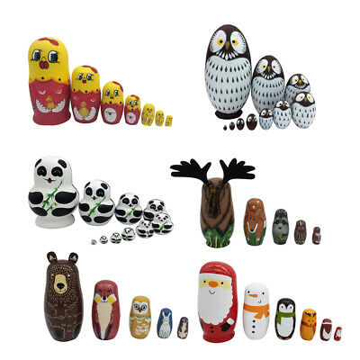 1 Set of Hand Painted Wooden Vintage Matryoshka Nesting Dolls Russian Dolls