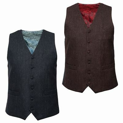 Gabicci Vintage Mens Stripe Tailored Single Breasted Button Up Smart Waistcoat