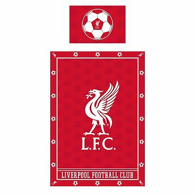Liverpool FC Red Single Duvet Cover Pillow Liverbird Soccer Ball NWT Official