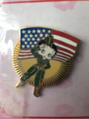 Betty Boop Soldier Girl GI Saluting American Flag Pin USA Pinback