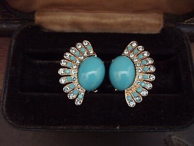 Vintage Large Turquoise & Aquamarine Crystal Fan Shape Clip-On Earrings