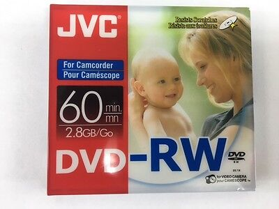 JVC 60 Min 2.8GB DVD-RW Disc (5 pack), Double Sided - Camcorder Discs
