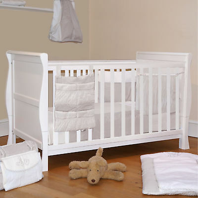 4Baby White Wood 3 In 1 Sleigh Cot Baby Cotbed Converts To Junior Toddler Bed
