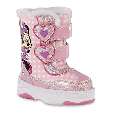 NEW NWT Toddler Girls Disney Minnie Mouse Snow Boots Size 7 9 10 11 or 12