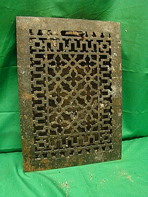 ANTIQUE LATE 1800'S CAST IRON HEATING GRATE ORNATE DESIGN 13.75 x 9.75 F