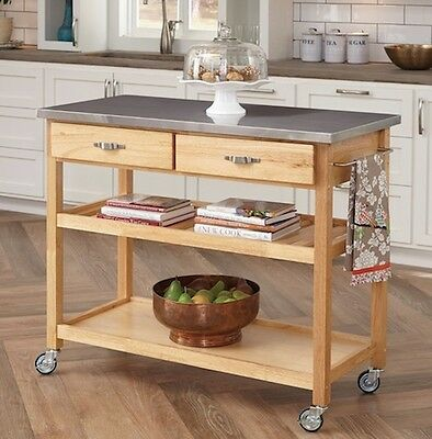Large Rolling Carts Stainless Steel Top Storage Cart Wheels Portable Island NEW