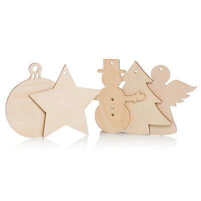Wooden Christmas Craft Shapes Angel Snowman Bauble Xmas Tree Star 7cm 10cm Wood