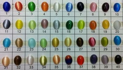 20PCS Cat's Eye Opal Glass Round Oval Cabochon Spacer Loose Stone Beads 40Colors