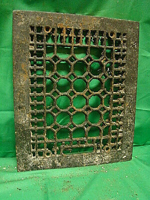 ANTIQUE CAST IRON HEATING GRATE COVER HONEYCOMB DESIGN 11.75 X 9.75 a