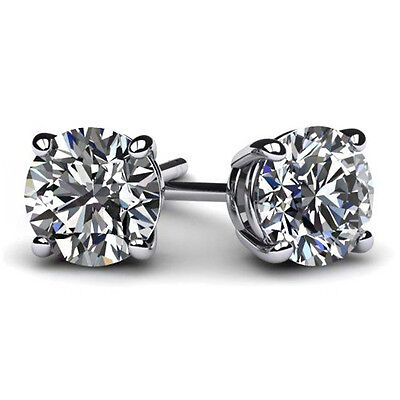 2 Ct Round Earrings Studs Solid 14K White Gold Brilliant Cut Basket Screw Back