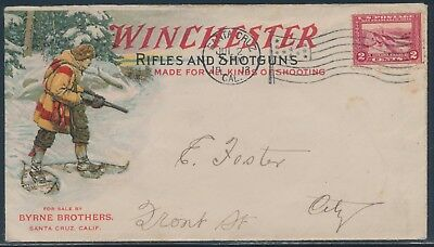 Winchester Multicolor Gun Cover #398 Santa Cruz, Ca 7/2/1913 Flag Cancel Bu310