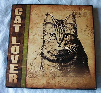 Cat Lover Wall Plaque 10 Inch Square Sepia Colored Collage Beautiful Cat Picture