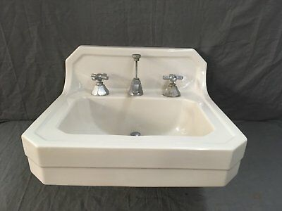 Vtg Mid Century Art Deco Clipped Corner White Porcelain Ceramic SInk Old 741-17E