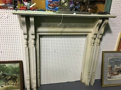 Antique Fireplace Mantle Vintage Carved Wood Architectural Salvage