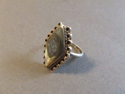 Vintage  Sterling Silver Abalone Taxco Mexico Size 6 (K5)