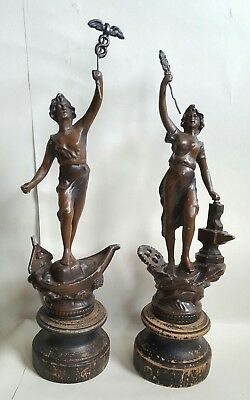 pair of vintage cast awards trophies ornaments barn find
