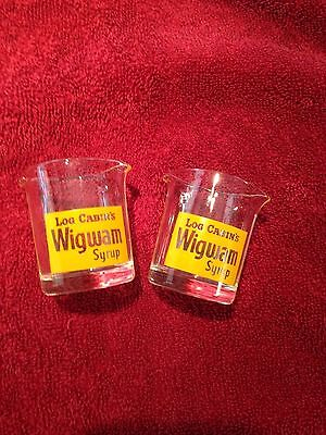 Log Cabin's Wigwam Syrup Mini Pitcher Shot Glass Cup Advertising Pair Free Ship