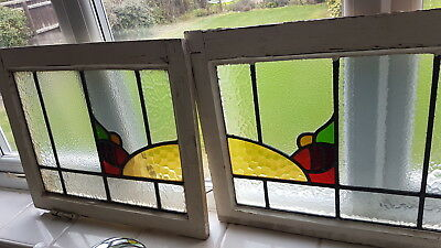 Pair Art Deco 1930's Stain Glass Window Bumble Bee Lovely Colours & Textures Af