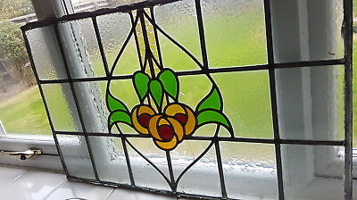 Large Art Deco 1930's Original Stain Glass Panel Lovely Colours And Textures Af
