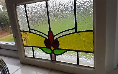 Art Deco 1930's Original Stain Glass Window Panel Lovely Colours And Textures Af