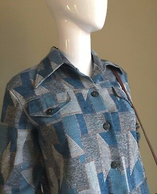 VINTAGE 1960's PSYCH Mod Teal Abstract LADIES Shirt - Mod RETRO Vtg - 14