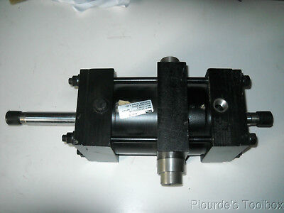 """New 2A Parker 5"""" Bore  Air Cylinder, Double End Rod, 5"""" Stroke, Inter. Trunnion"""
