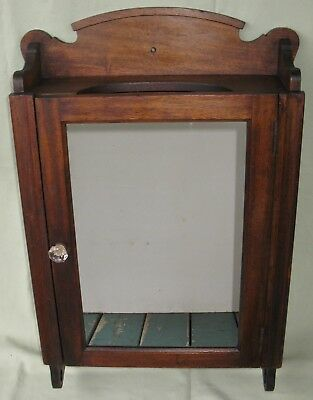 Antique Mahogany Wall Medicine Cabinet Mirror Glass/wood Shelves Original Finish