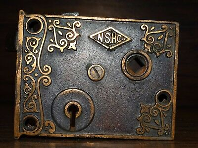 20047 Antique Brass East Lake  External Ornate Door Lock Set  Victorian Hardware