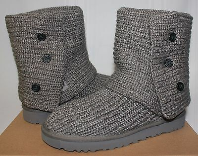 c0f7f7e81af UGG WOMEN'S CLASSIC Cardy Knit Grey boots 1016555 New With Box!