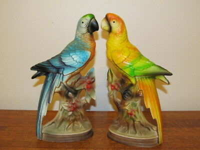 Pair of Vintage Ceramic Bisque Cockatoo Parrot Figurine Blue Yellow Green