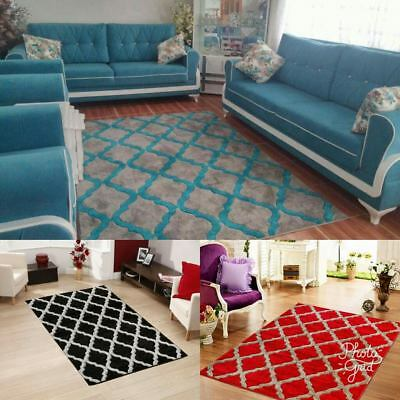 Silver Teal Modern Harlequin Rug Runner Small Large Hard Wearing Embossed New