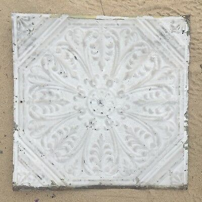 "Antique Shabby 24"" Chic Tin Ceiling Tile Panel Vtg White Metal 2' x 2' 216-17J"