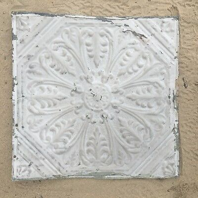 "Antique Shabby 24"" Chic Tin Ceiling Tile Panel Vtg White Metal 2' x 2' 217-17J"