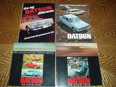VINTAGE 1968-1970 DATSUN SALES BROCHURES LOT OF (4) - Very Good Condition