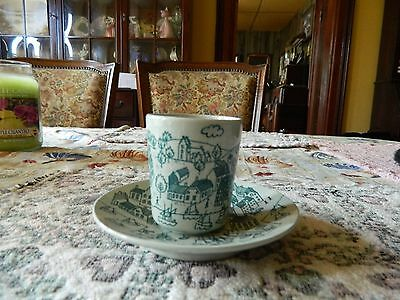 Hoyrup Nymolle Art Denmark Demi Cup and Saucer Green