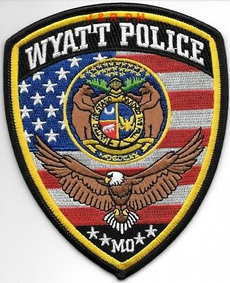 "Wyatt, Missouri (4"" x 5"" size) shoulder police patch (fire)"