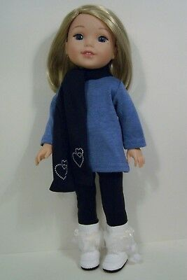 """3pc Blue LEGGINGS TOP SCARF Doll Clothes For 14"""" AG Wellie Wisher Wishers (Debs"""