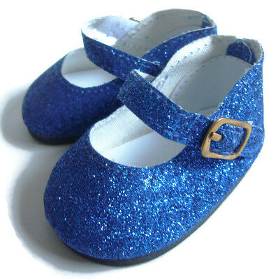 "Royal Blue Glitter Shoes for 18"" American Girl Doll Clothes Quality Accessories"