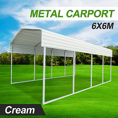 Metal sheet carport 6x6M for front and back yard Green or Cream color