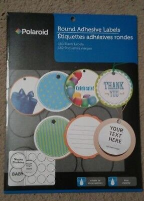 Polaroid Round Adhesive Labels 160 Blank Labels - NEW  Crafts Printable Decorate