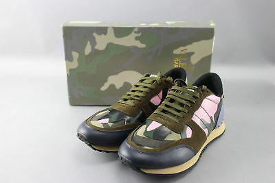 Valentino Size 11 Rockrunner Pink/Blue Camouflage & Stars Sneakers w/ Box