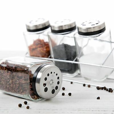 SPICE JAR SET 4 Piece Rack Herbs Glass Bottles Spices Jars Storage QUALITY NEW
