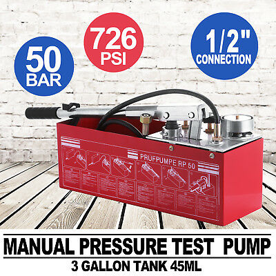 New Water Pipe Line Leakage Tester Pressure Test Pump Plumber Heating System 12L