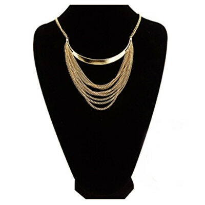 Statement Necklace for Women Multi Strands Golden Short Chain Fashion Jewelry