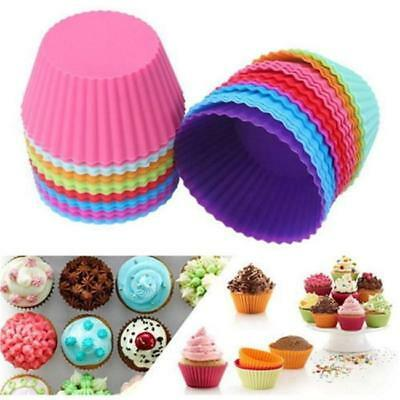 12pc Soft Silicone Round Cake Muffin Chocolate Cupcake Liner Baking Cup Mould JA
